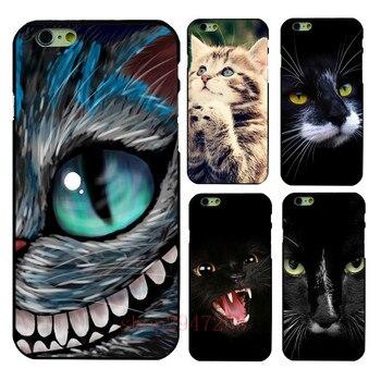 Cute cat предназначен для черный жесткий shell для apple iphone 4 4S 5 5S se 5c 6 6s 6 плюс 7 7 плюс