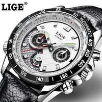 Full Steel LIGE Mens Watches Top Brand Luxury Leather Quartz Watch Chronograph Luminous Sport Men Wrist
