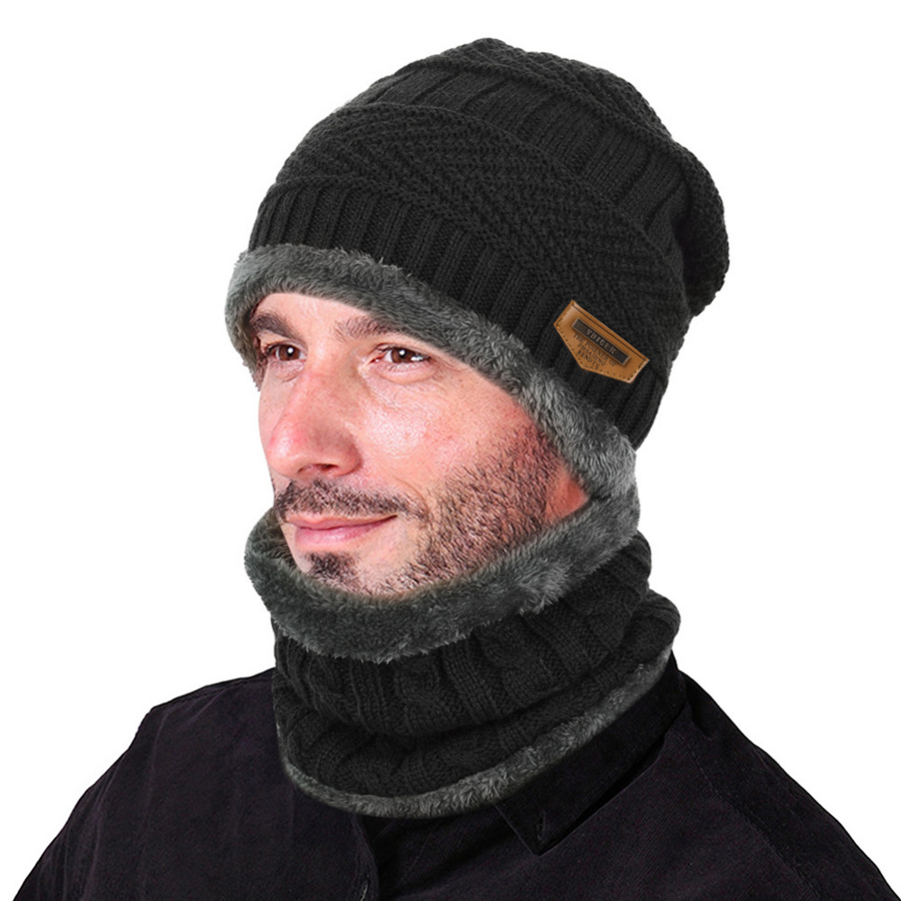 8bc717bfbe7b8 VBIGER 2pcs Men Women Winter Warm Knitted Hat Beanie Set Thicken Solf Fleece  Lining Hat Cap with Circle Scarf Outdoor Hat