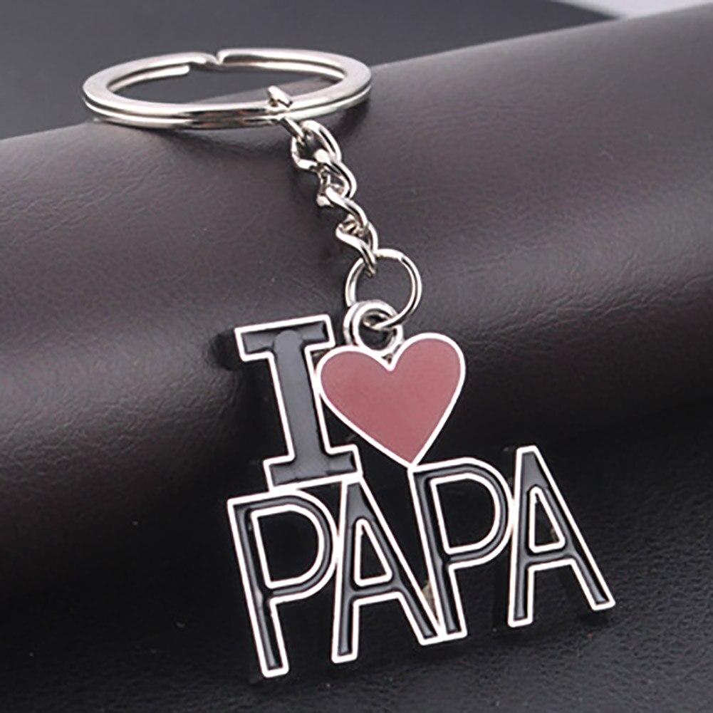 metal letter Keychain I LOVE PAPA enamel keyrings Christmas gift font b Valentine b font gift