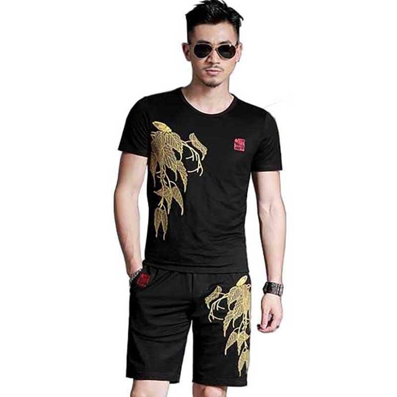 Nouveau mode été 2 pièces ensemble t-shirt court ensemble hommes ensembles courts survêtement de haute qualité broderie vêtements pour hommes ensemble de survêtement