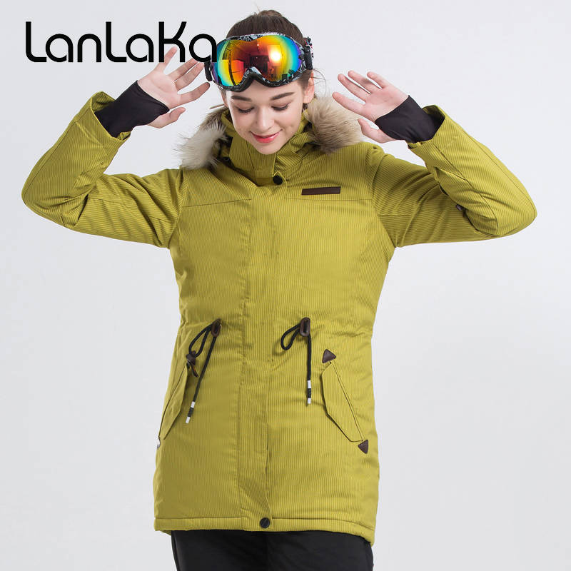 LANLAKA Fur Hooded Women Ski Jacket Mid-length Style Waist Rope Winter Clothing Windproof Waterproof Thermal Skiing SnowboardLANLAKA Fur Hooded Women Ski Jacket Mid-length Style Waist Rope Winter Clothing Windproof Waterproof Thermal Skiing Snowboard