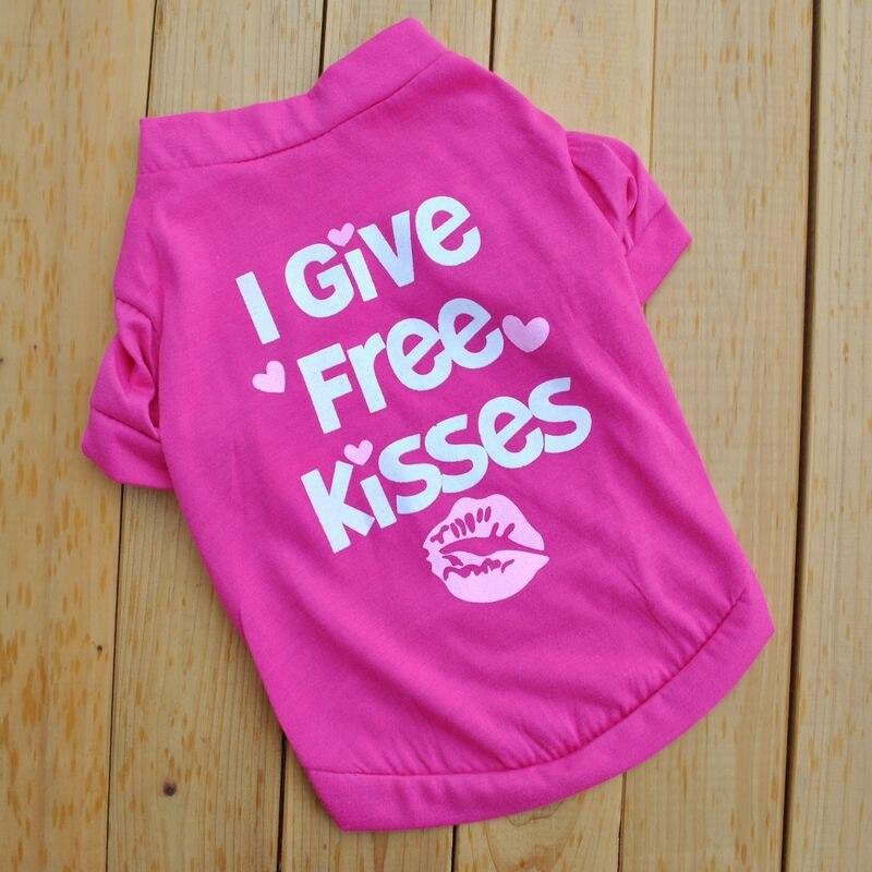 Я даю бесплатно поцелуи собак shrt Щенок Летней Одежды Небольшой Собаки рубашка Roupa Печати Pet Песик Ткань Девушка Одежды Собаки На Продажу E ...