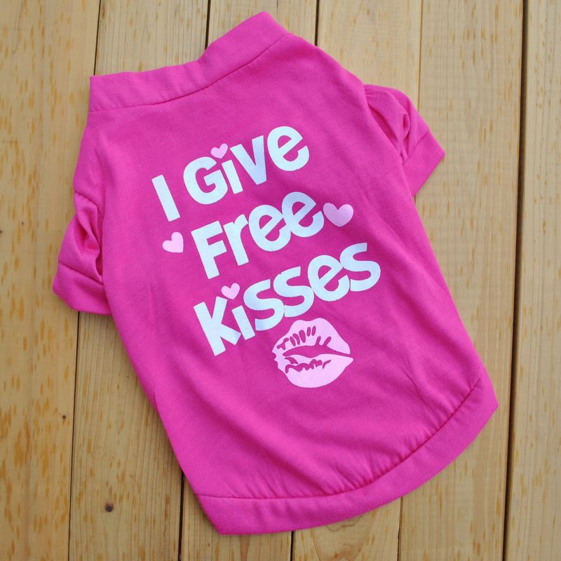 I Give Free Kisses Dog Shirt Puppy Summer Clothes Small Dogs Dog Shirt Roupa Pet Print Doggie Cloth Girl Dog Apparel On Sale E