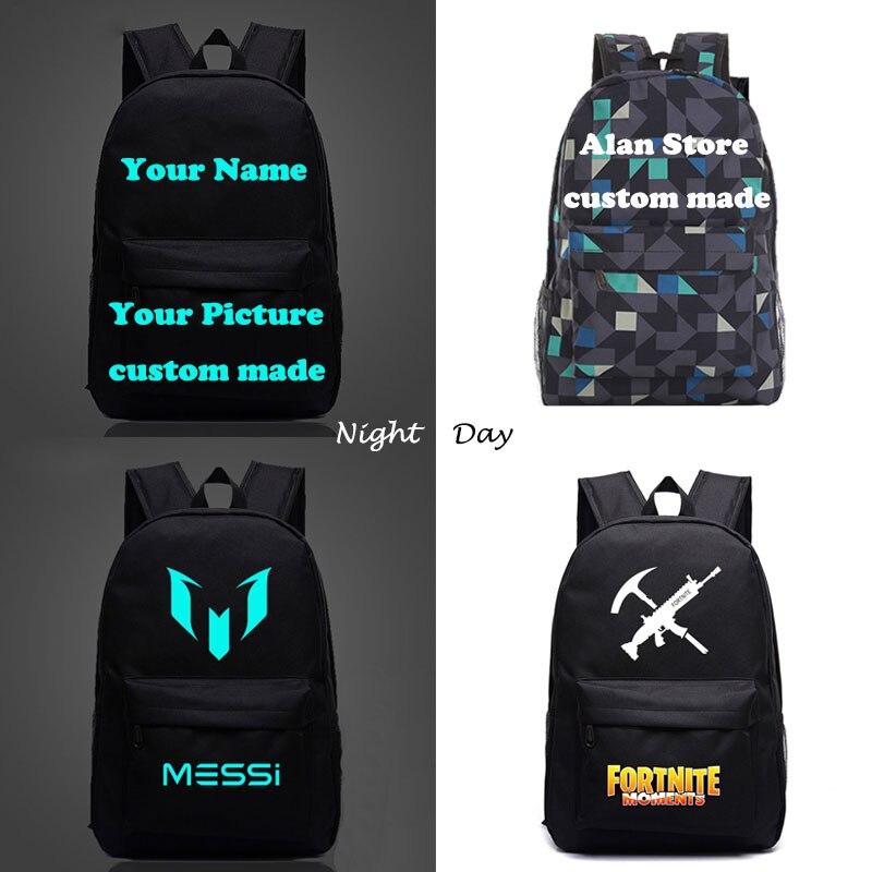 Messi Minecraft CR7 Fortnite Game School Backpacks Children Bts Custom Made Letter Printing Glowing Backpack Kids Gift