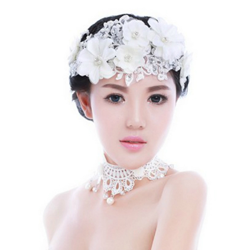 hair accessories jewelry beauty wedding headbands lace bridal flower temperamental delicate pearl headdress romantic flowers crystal simulation