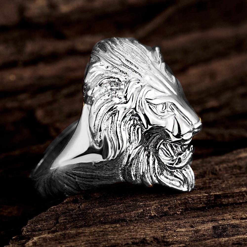 Bague tête de Lion argenté ou doré | Rasta Lion