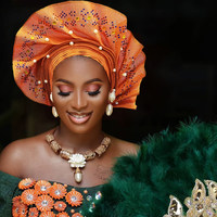 2019 Newest Design African Aso Oke Auto Gele with Colorful Stones and Beads Women Headrap for Party and Wedding AS042