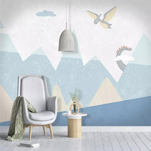 Cartoon dinosaur world childrens room background wall professional production mural wholesale wallpaper poster photo