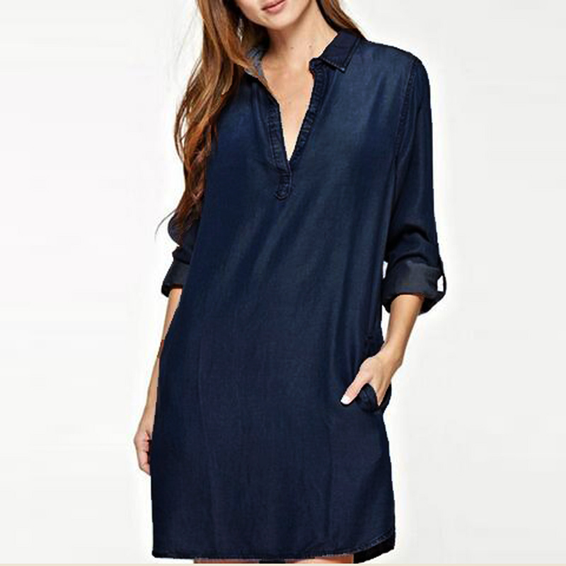 Ladies Women S-5XL Fashion Denim Blue <font><b>Jean</b></font> Look V Neck Plunge <font><b>Sexy</b></font> Trun Down Collared Mini Shirt <font><b>Dress</b></font> Vestido Plus Size image