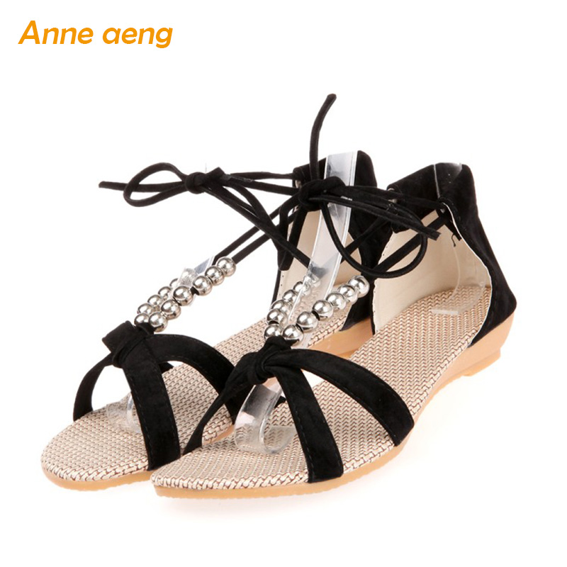 Anne Aeng string bead ankle strap sandals women summer shoes beach flip flops Gladiator casual style light black shoes wedges gladiator sandals 2017 summer style comfort flats casual creepers platform pu shoes woman casual beach black sandals plus us 8