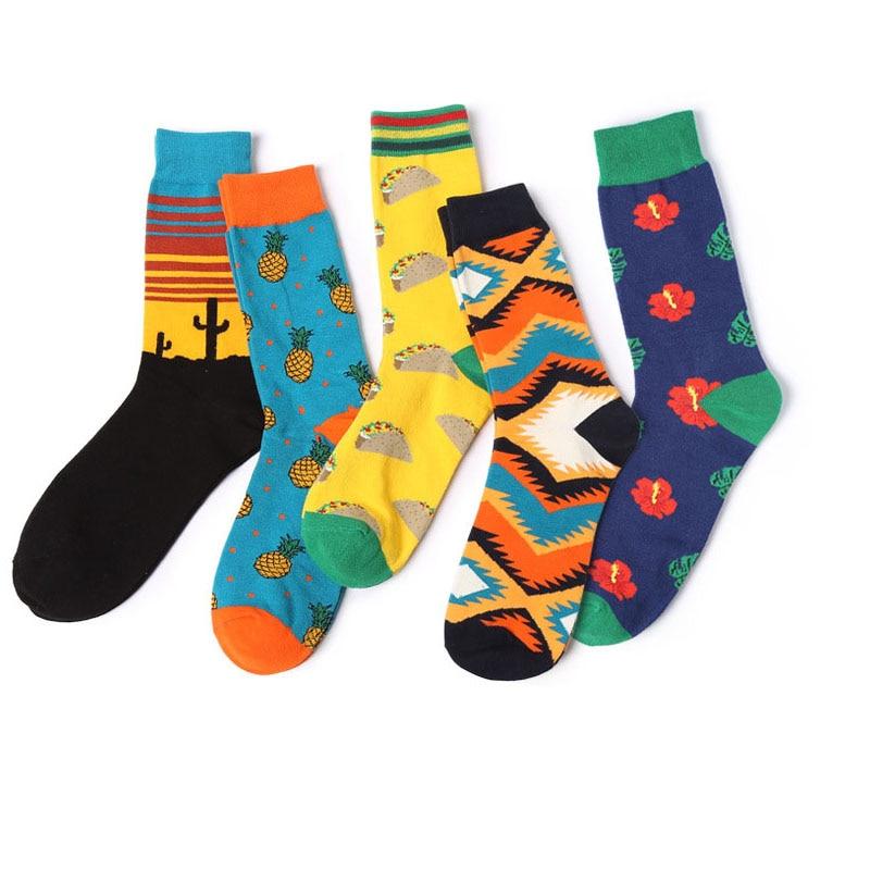 6pair Casual Beach Cotton Men Crew Socks Street Skateboard Socks Men HipHop Brand Dress Men Socks Happy Funny Harajuku Sox Meias