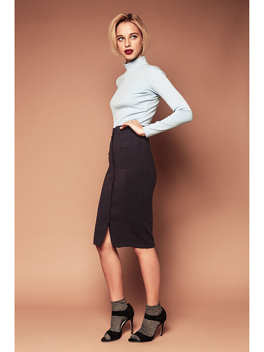 Skirt MIDI with buttons. Color Blue high waisted bodycon midi skirt