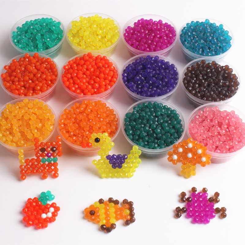 200pcs/bag Jewel Bead Refill Pack 12 Colors Spray Beads Deluxe Studio Beads Set Water Sticky Beads Jigsaw  Puzzle Toy For Kids