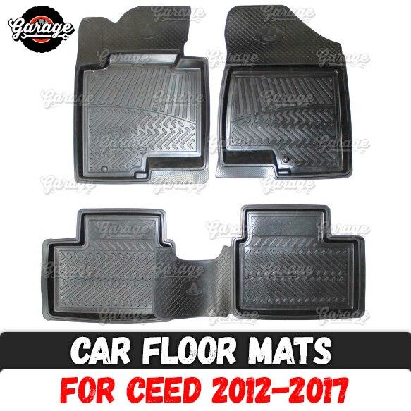 Car Floor Mats For Kia Ceed 2012-2017 Rubber 1 Set / 4 Pcs Or 2 Pcs Accessories Protect Of Carpet Decoration