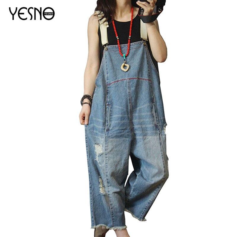 YESNO P49 combinaison femme recadrée grande taille pantalon salopette patchwork trou en détresse décontracté lâche jambe large barboteuses femmes