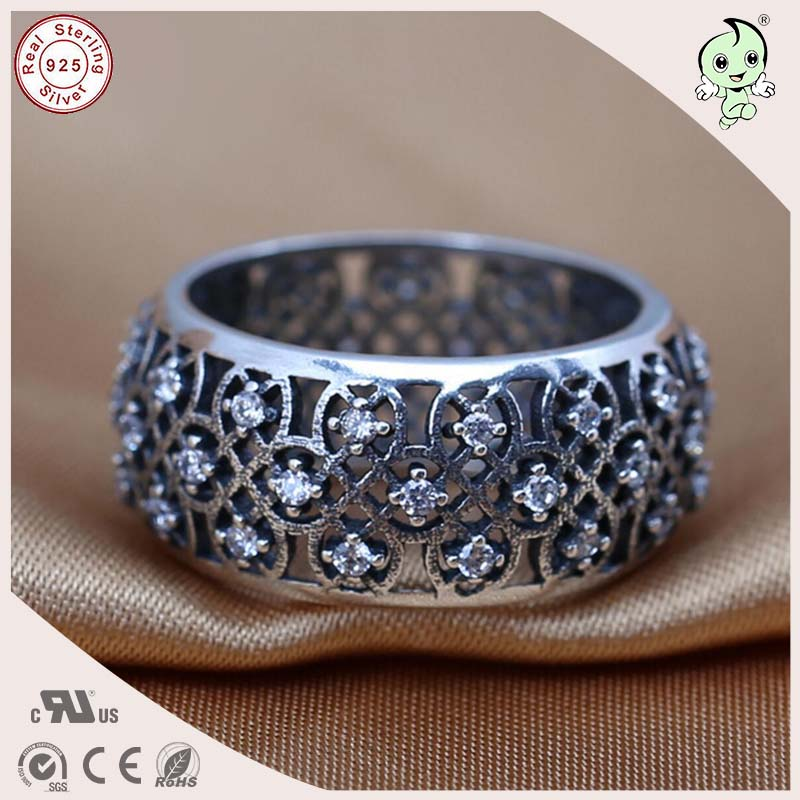 P&R products Hot Sale HighQuality Luxurious Retro 100% 925 Solid Silver Wide And Heavy Hollow Wide Round Ring for women