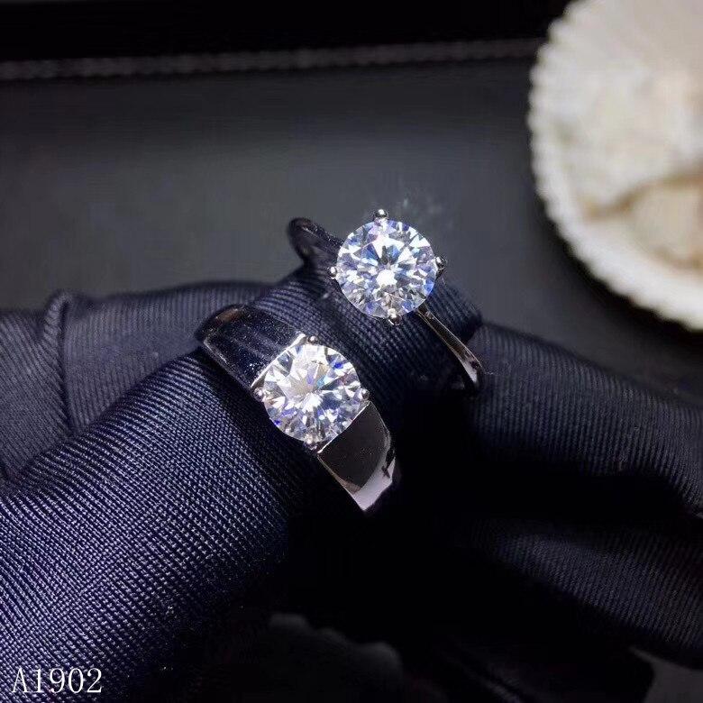Kjjeaxcmy 고급 보석 925 스털링 실버 상감 천연 다이아몬드 그 여성 커플 반지 지원 감지-에서반지부터 쥬얼리 및 액세서리 의  그룹 1
