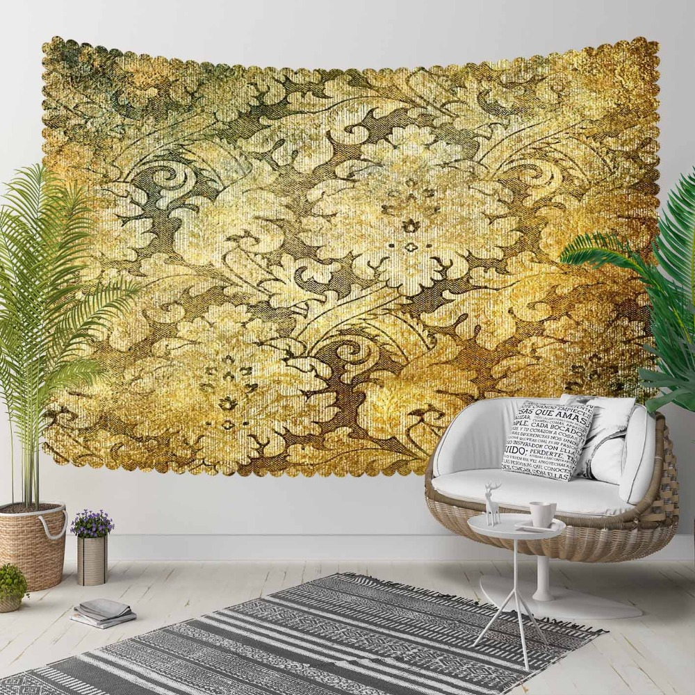 Else Yellow Black Ottoman Floral Turkish Ethnic 3D Print Decorative Hippi Bohemian Wall Hanging Landscape Tapestry Wall Art