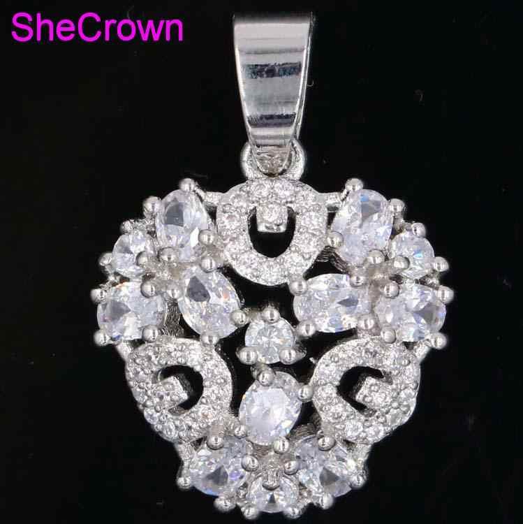 SheCorwn สินค้าใหม่มาใหม่สีขาว Sapphire สีขาว Cubic Zirconia ของขวัญสำหรับหญิง 925 เงินจี้ 27x18 มม.