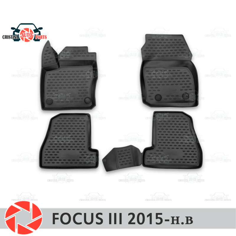 Floor mats for Ford Focus 2015- rugs non slip polyurethane dirt protection interior car styling accessories for ford focus brand leather wear resisting car floor mats black grey brown beige non slip waterproof 3d car floor carpets