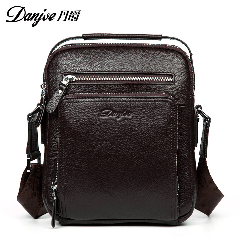 DANJUE Real Genuine Leather Men's Messenger Bags Cow Skin Shoulder Bag luxury brand designer Crossbody bag high quality for Ipad