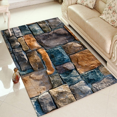 Else Blue Brown Gray Stones Wall Home Decor 3d Print Non Slip Microfiber Living Room Decorative Modern Washable Area Rug Mat