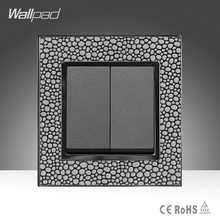 цена на 2 Gang 2 Way High Quality Products Wallpad Luxury Hotel Pearl Leather Frame UK Standard Two Gang Two Way Push Button Switch