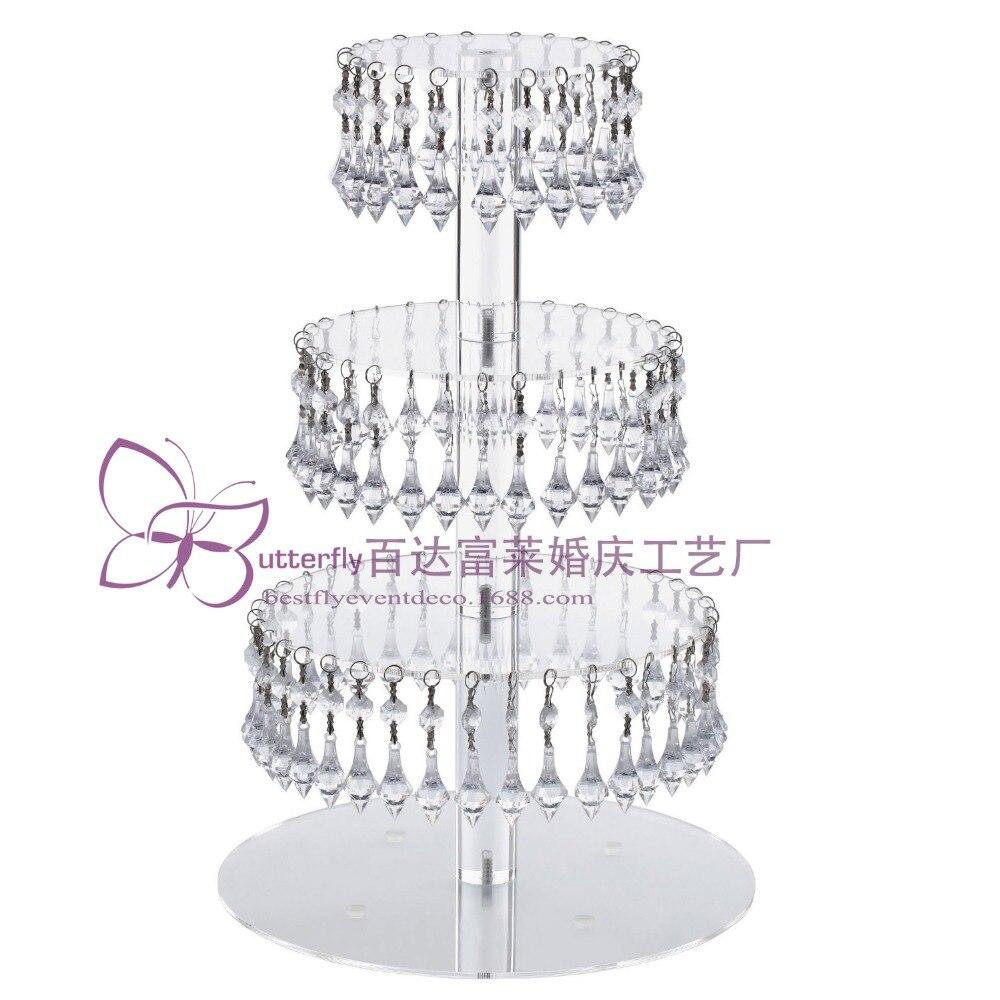 4 rangées Rondes En Verre Acrylique Cupcake Tour Stand avec Acrylique Suspendu Cristal Perle-mariage Fête Gâteau Tour/Cupcake support/