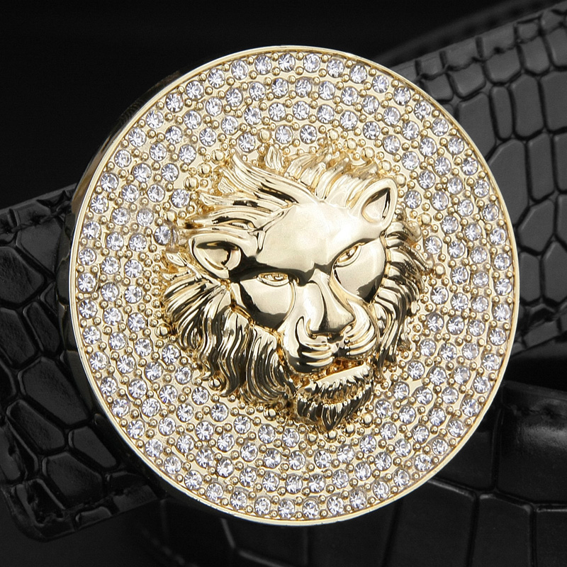 2018 Men Fashion Designer Genuine Leather Luxury Metal Alloy Buckle Lion Belt Cowskin Sash Wide Belt High Quality Ceinture Homme