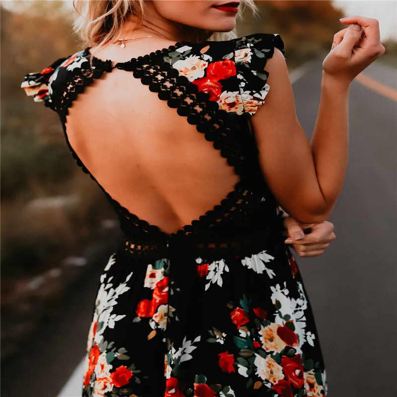 b3e5aa6a0f4 2018 сексуальное платье с глубоким v-образным вырезом и цветочным принтом