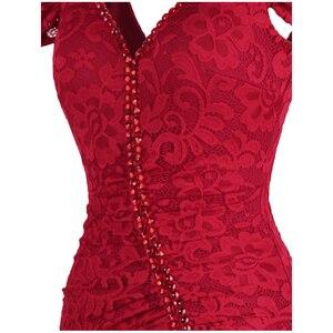 Image 5 - מלאך אופנת נשים של חלוק דה soiree סירה צוואר קפל תחרה ואגלי פיצול בת ים ארוך אדום המפלגה שמלת 425 200