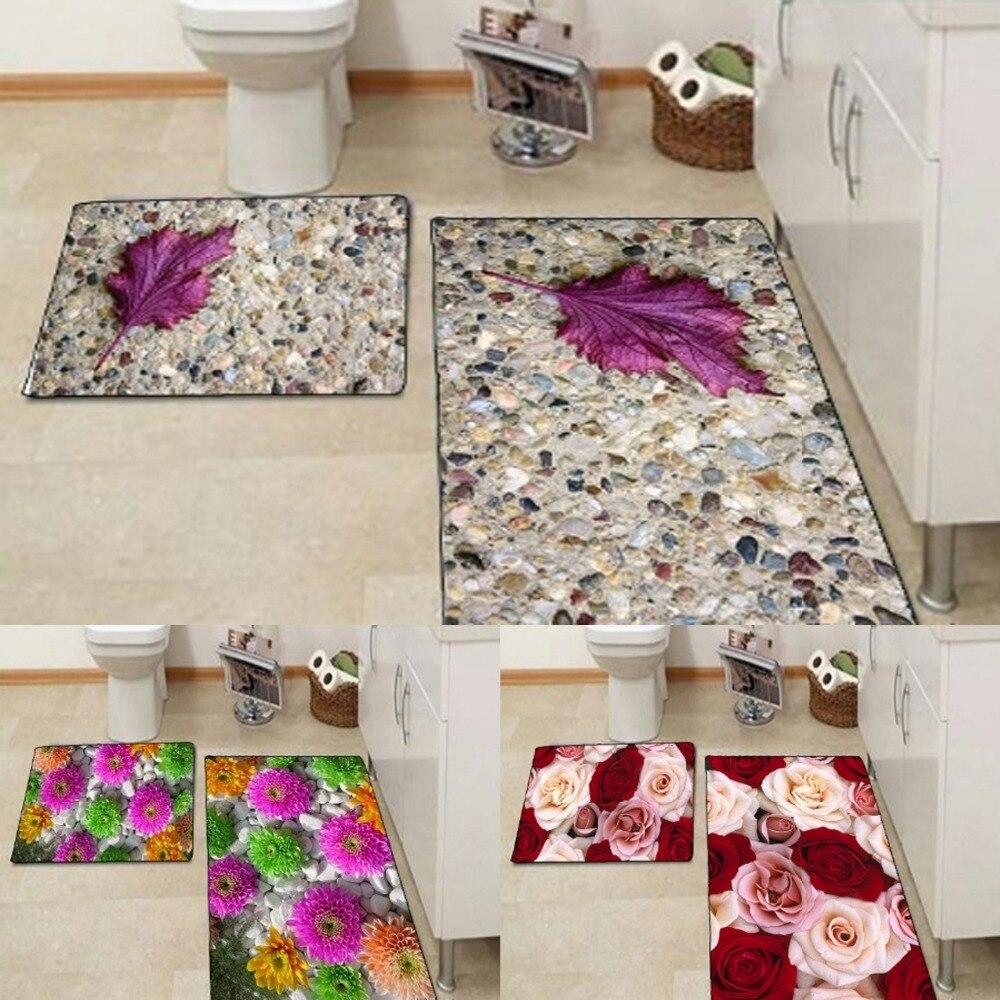 Else หินสีม่วง Leaf สีชมพูสีเขียวดอกไม้สีแดง Rose 3d พิมพ์ Non Slip ไมโครไฟเบอร์ 2 ชิ้นชุดสำหรับห้องน้ำ 90x60 ซม....
