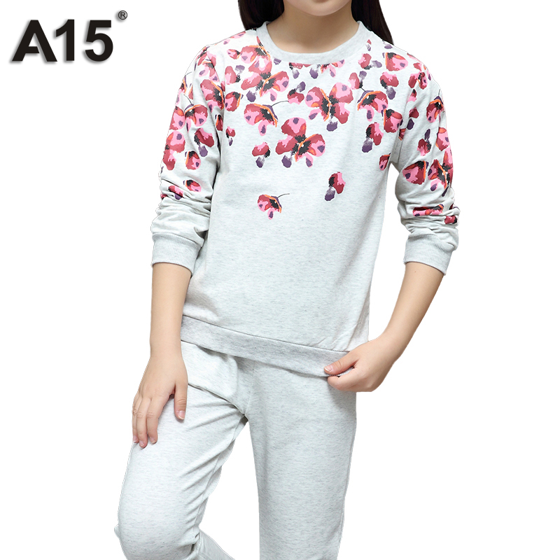 A15 Girls Clothes Suit Teenage Girls Clothing 2018 Spring Autumn T-shirt Tops Pants Kids Outfits Children Tracksuit 8 10 12 Year