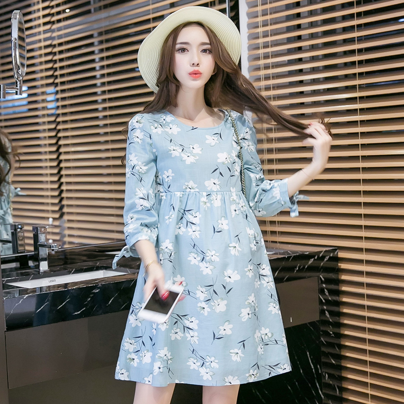 Breast Feeding Clothes Floral Summer Elegant Woman Dress Casual Cotton Maternity Dress For Pregnant Clothes Bow Cute Dress
