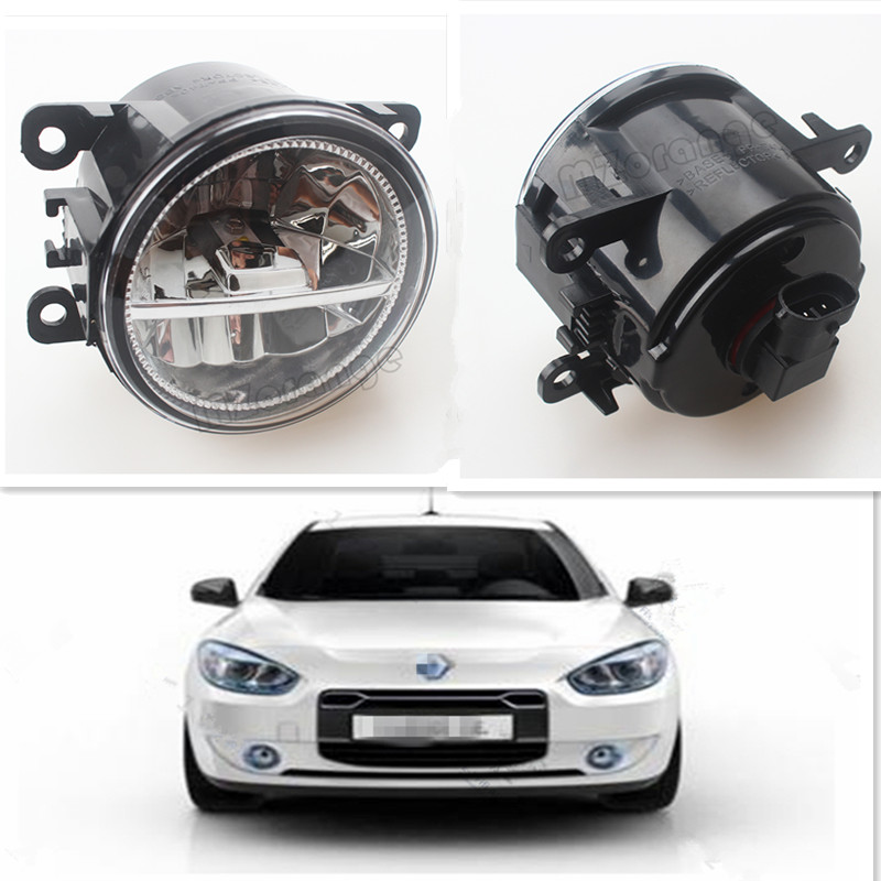 For RENAULT FLUENCE (L30) 2010-2015 For Front Bumper High Brightness LED Fog Lights Lamps Car Styling White 1Set led front fog lights for renault koleos hy 2008 2013 2014 2015 car styling bumper high brightness drl driving fog lamps 1set