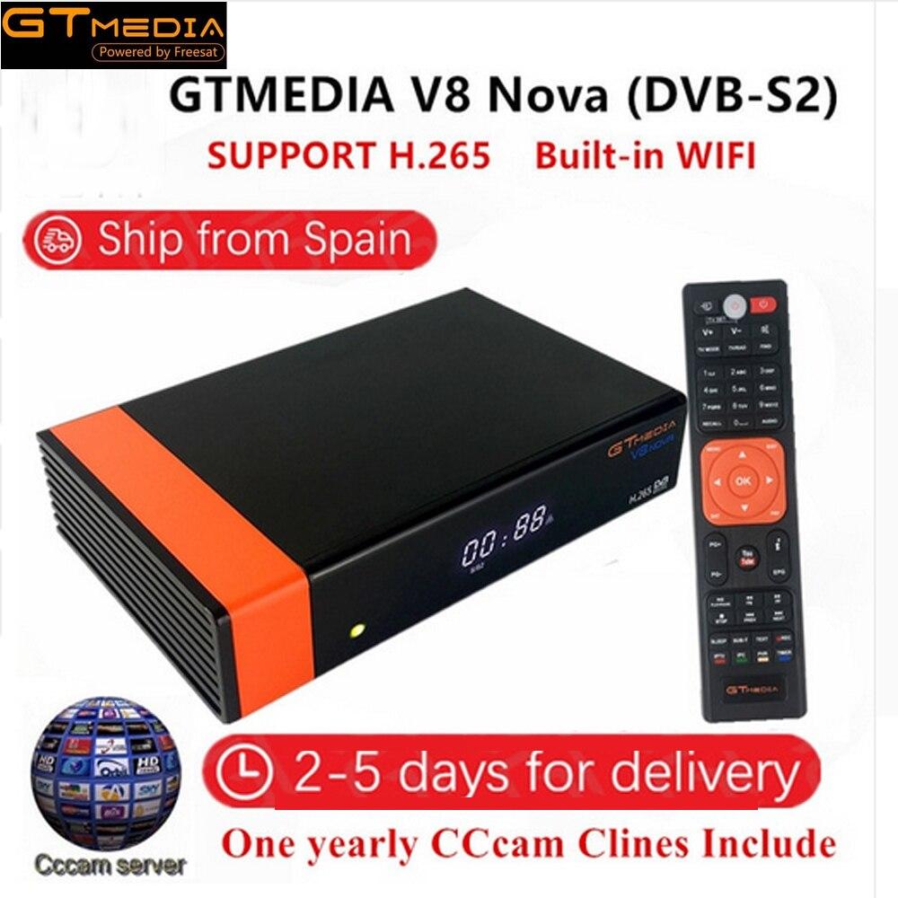 GTMedia V8 Nova DVB-S2 Receptor Receptor de Satélite Full HD 1080 H.265 HEVC 1 Ano Europa Espanha 7 linha CCCam Cline wi-fi embutido