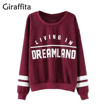 Giraffita Women Autumn Fashion Hoodies Wine Red Letter Print Sweatshirt Knitted Long Sleeve Pullovers Polerones Mujer Harajuku