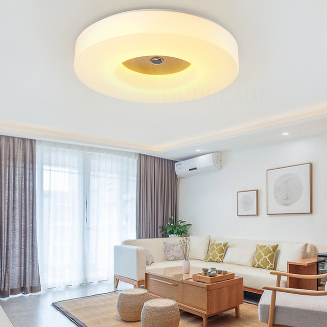 Us 58 76 38 Off Modern Livingroom Led Ceiling Lights With Square Round Wood Frame Lamparas De Techo Style Led Lamps For Bedroom In Modern Livingroom