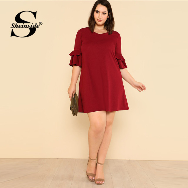Sheinside Burgundy Ruffle Sleeve Elegant Shift Dress Plus Size Women V Neck Solid Swing Dress Women Clothes 2018 Mini Dresses 3