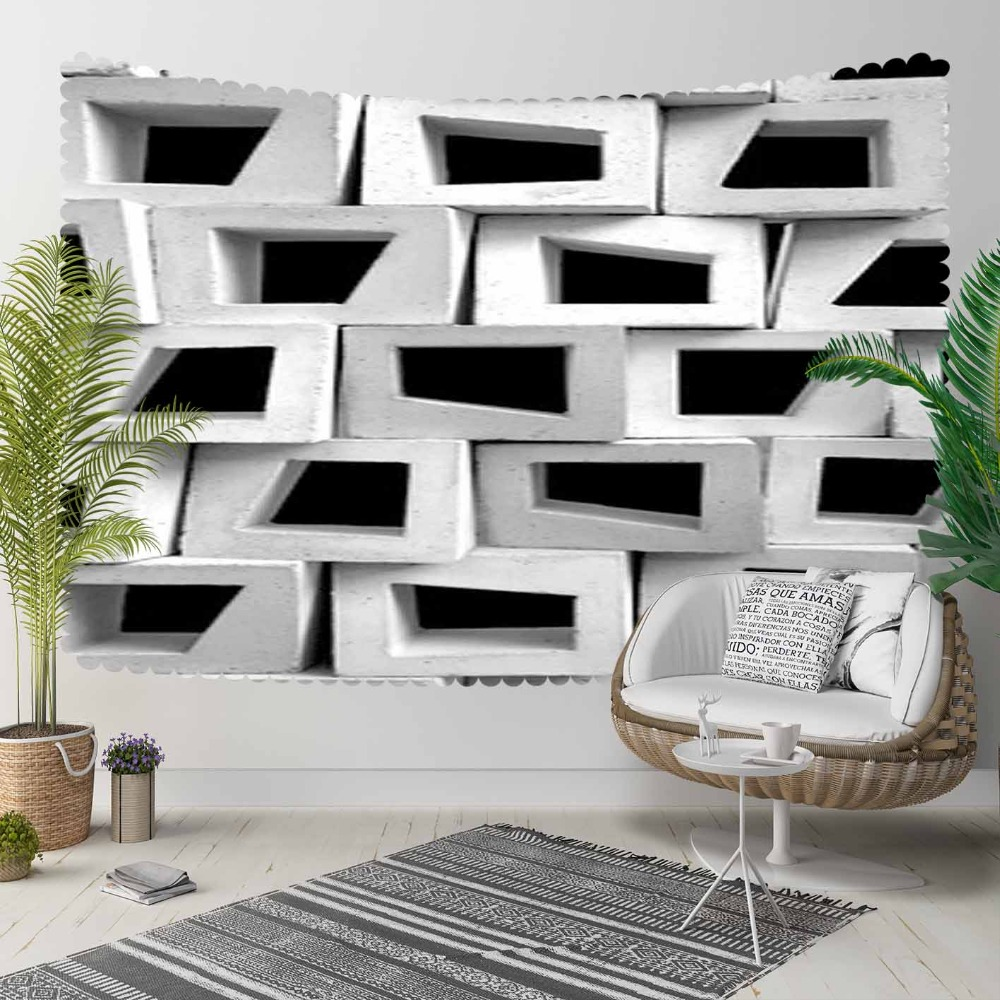 Else Black Gray White Stone Brick Cubes Nordec 3D Print Decorative Hippi Bohemian Wall Hanging Landscape Tapestry Wall Art
