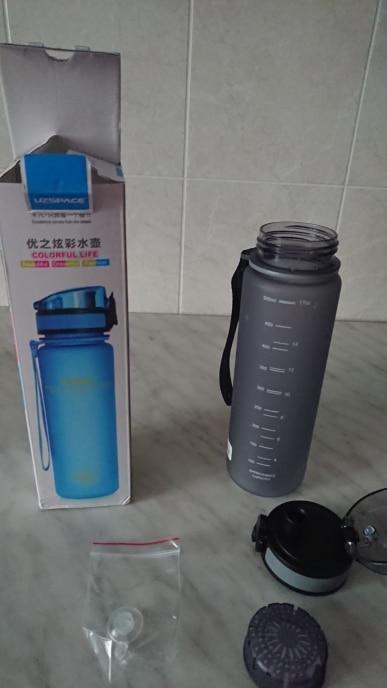 Uzspace Sports Water Bottles Tritan Material Drinkware Protein Shaker Camping Hiking Plastic Bottle for water 350ml 500ml 1000ml