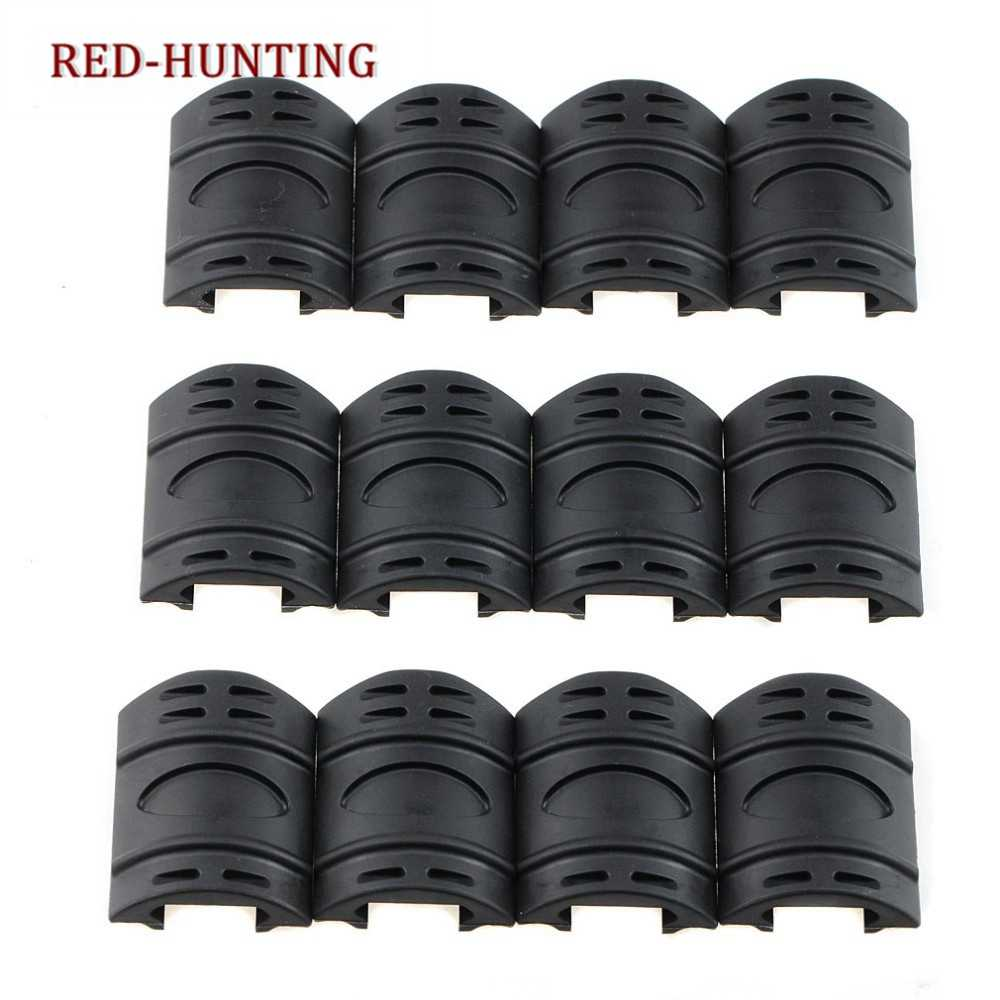 Airsoft Gear Gun Accessory 12 pcs Tactical Weaver/ Picatinny Rubber Handguard Quad Rail Covers Black