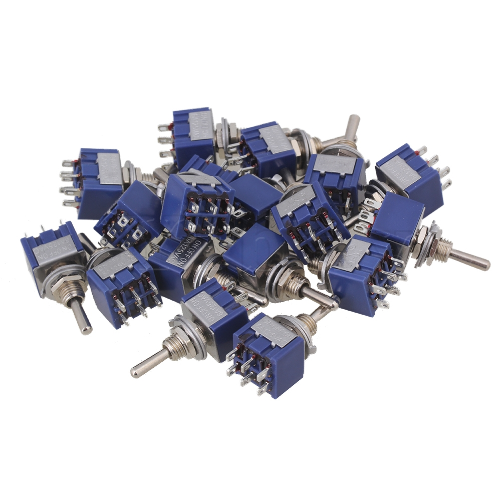 Yibuy 40 pièces Bleu CA à 3 Voies 125 V 6A Bipolaire DPDT Marche/Arrêt/Type 3 P Interrupteur À Bascule