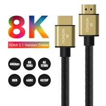 Dây Cáp HDMI 2.1 Bộ Khuếch Đại UHD 8K 60Hz Năng Động HDR 4:4:4 4K 120Hz 48Gps 1M 1.5M 2M 5M 10M 15M HDCP2.2 Với Hồ Quang Âm Thanh Video Moshou