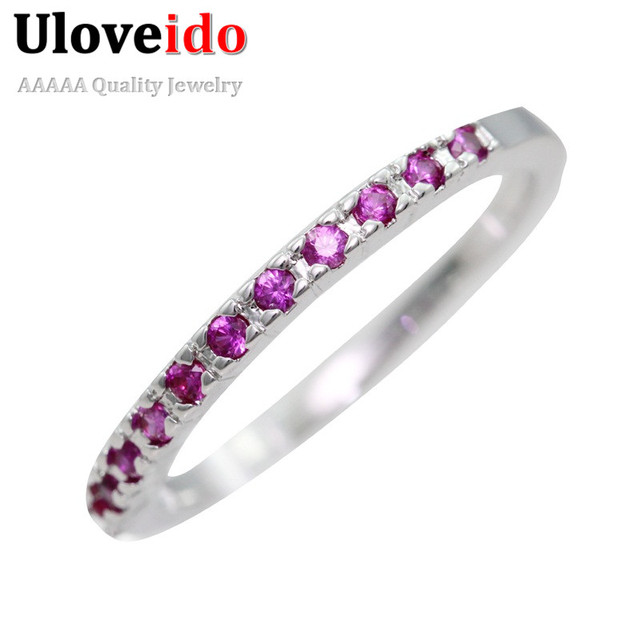 Uloveido Thin Match Wedding Band Rings For Women Micro Pave Aaa Red Purple White Cubic Zirconia