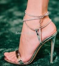 Women Sandals Gladiator New Design Pearl chain Shoe Thin High Heel Pumps Peep Toe Chic Lady Wedding Shoes