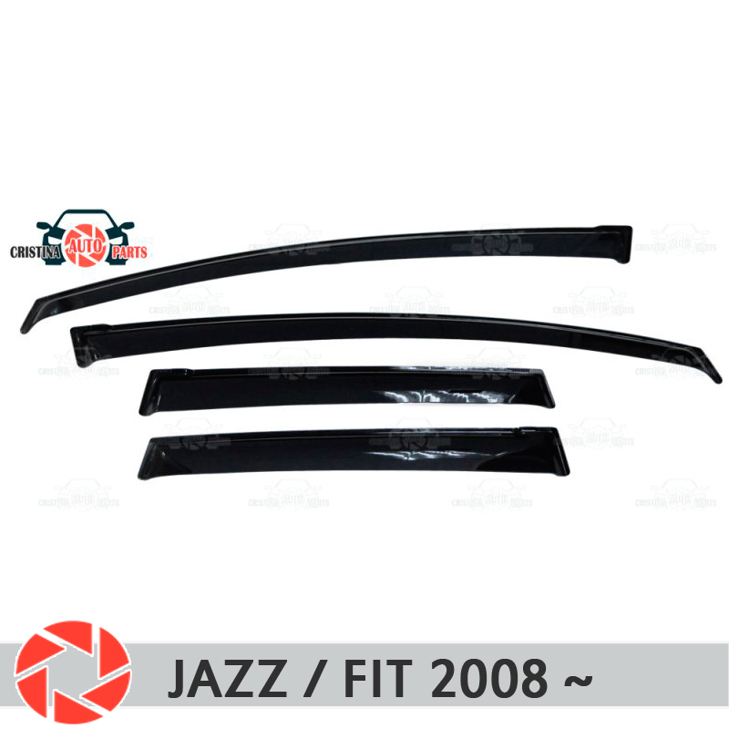 Window deflector for Honda Jazz / Fit 2008~ rain deflector dirt protection car styling decoration accessories molding handguards hand guards brush bar for motorcycle pit dirt bike motocross fit crf yzf wrf kxf klx rmz rmx drz ktm mx atv