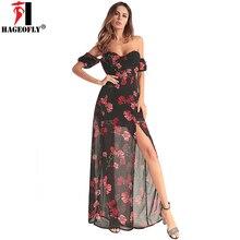 b17dc1db9d9a1 HAGEOFLY 2018 Summer Sexy Chiffon Dress Print Slit Ankle Length Strapless  Long