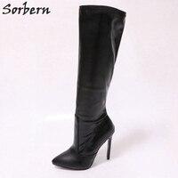 Sorbern Knee High Boots Women 12Cm Sexy Fetish High Heels Women Shoes Colorful Botas Feminina Ladies Shoes Size 43 Custom Color